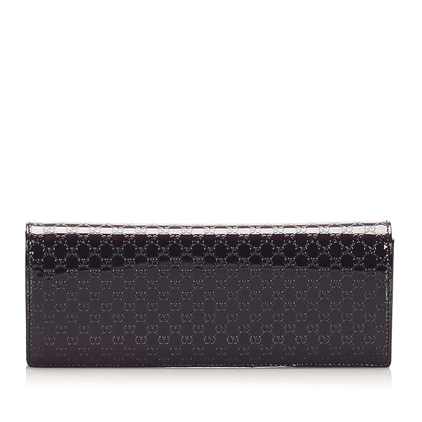 Purple Gucci Guccissima Broadway Patent Clutch Bag