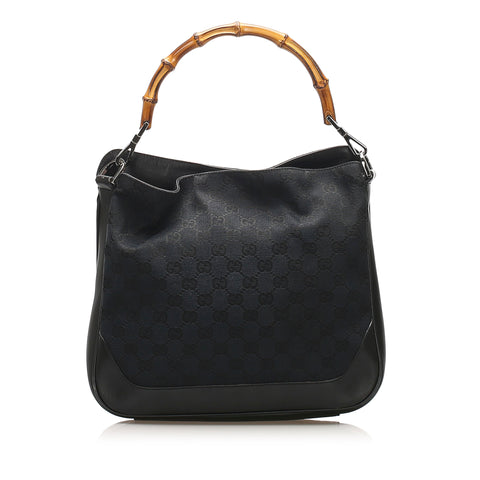 Black Gucci Bamboo GG Canvas Satchel Bag