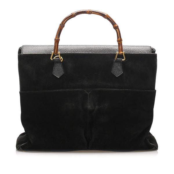 Black Gucci Bamboo Suede Handbag Bag