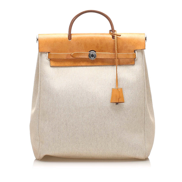Beige Hermes Herbag Canvas Satchel Bag
