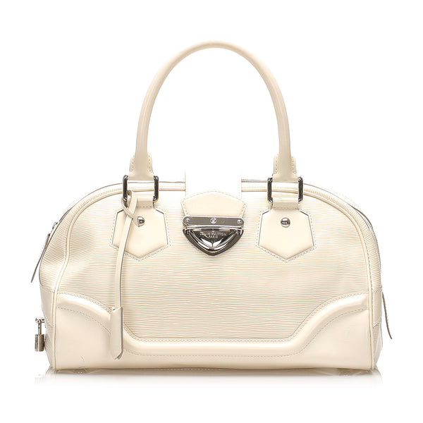 White Louis Vuitton Epi Bowling Montaigne GM Bag