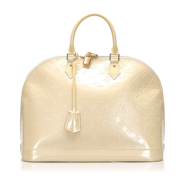 White Louis Vuitton Vernis Alma GM Bag