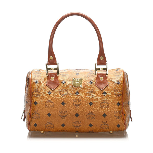 Brown MCM Visetos Leather Boston Bag