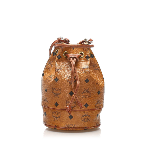 Brown MCM Visetos Leather Drawstring Bucket Bag