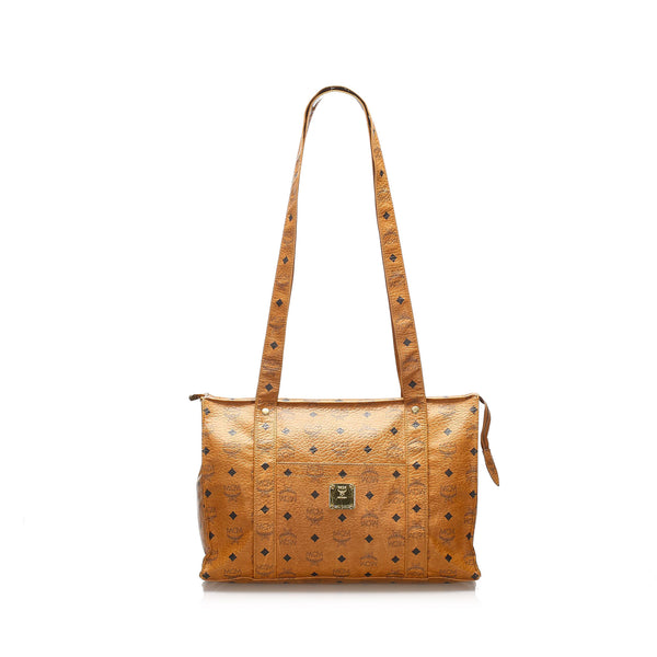 Tan MCM Visetos Leather Shoulder Bag