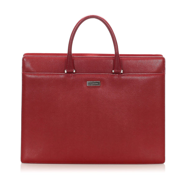 Red Burberry Leather Business Bag