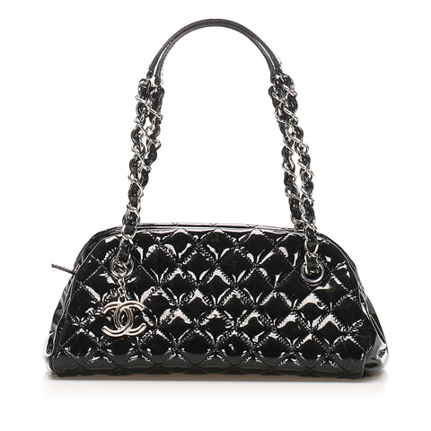 Black Chanel Mademoiselle Patent Leather Bowling Bag