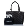 Black Chanel Cambon Ligne Lambskin Tote Bag
