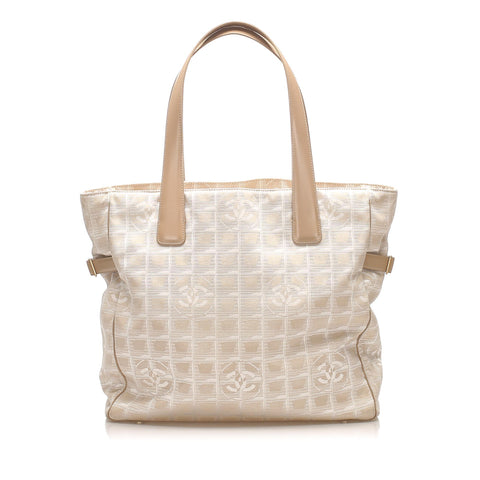 Beige Chanel New Travel Line Canvas Tote Bag