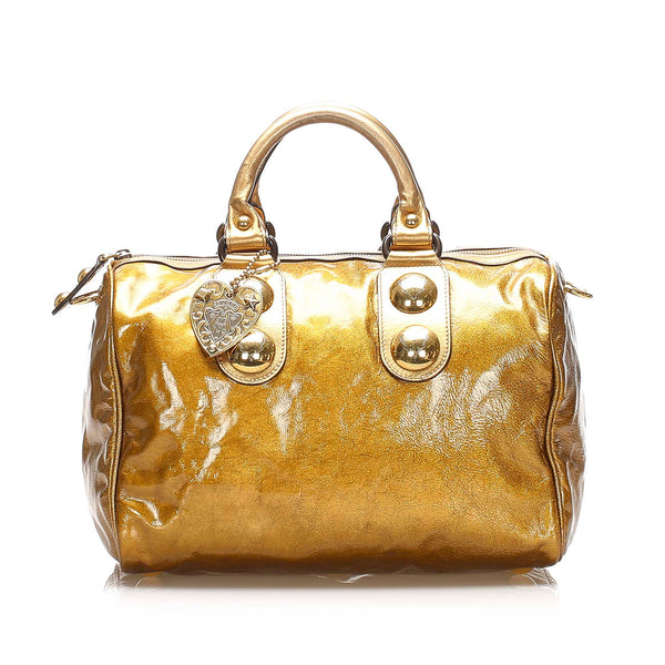 Gold Gucci Babouska Leather Boston Bag