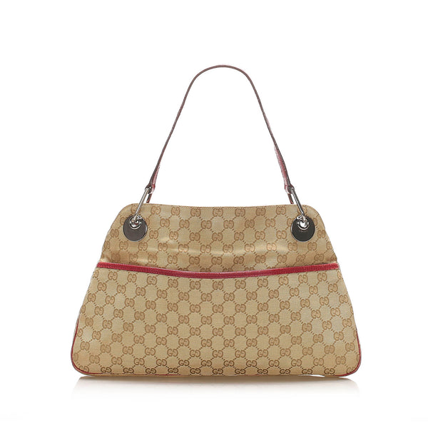 Brown Gucci GG Canvas Eclipse Shoulder Bag