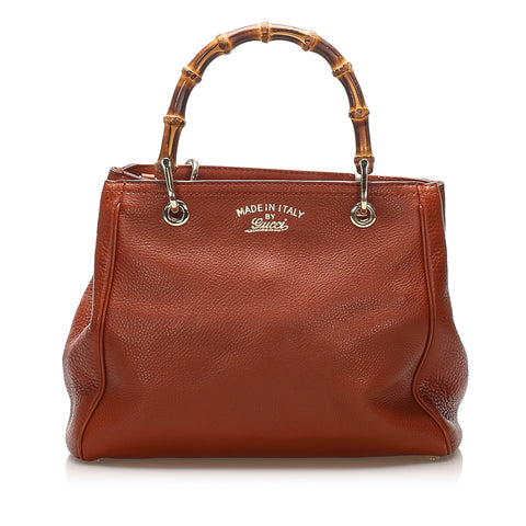 Brown Gucci Bamboo Shopper Leather Satchel Bag