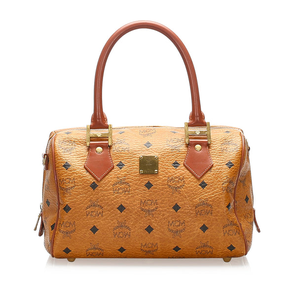 Tan MCM Visetos Leather Boston Bag