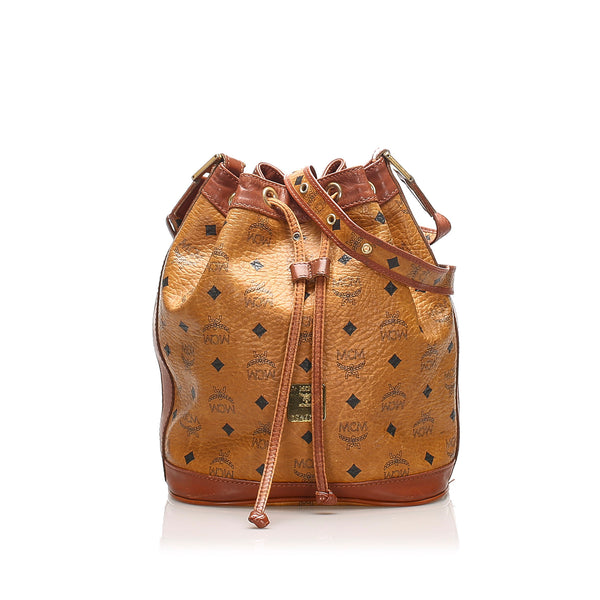 Tan MCM Visetos Leather Drawstring Bucket Bag