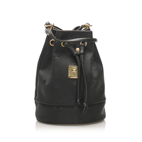 Black MCM Visetos Drawstring Nylon Bucket Bag