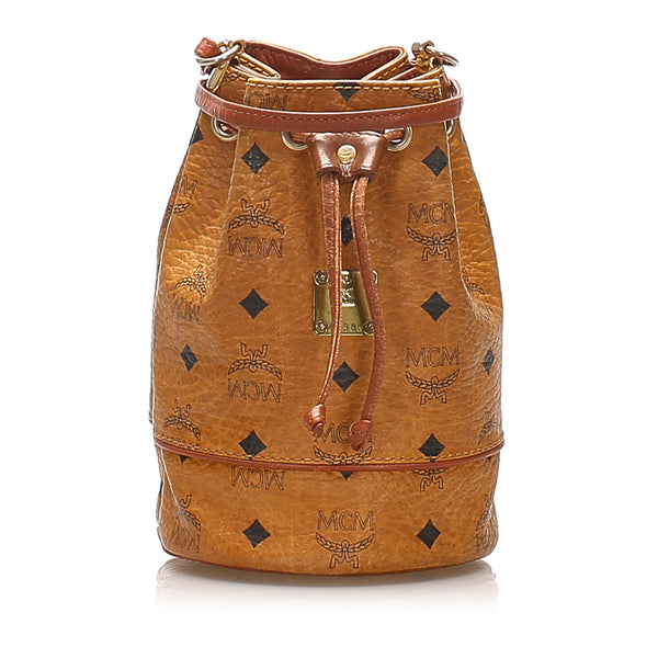 Tan MCM Visetos Drawstring Leather Bucket Bag