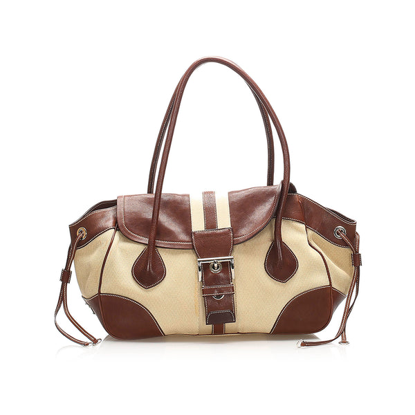 Brown Prada Canvas Handbag Bag