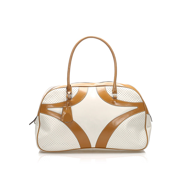 White Prada Vitello Drive Leather Handbag Bag