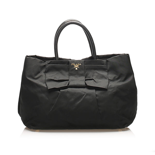 Black Prada Tessuto Bow Handbag Bag