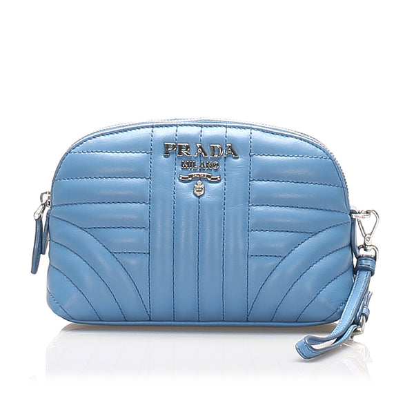 Blue Prada Soft Calf Diagramme Leather Pouch