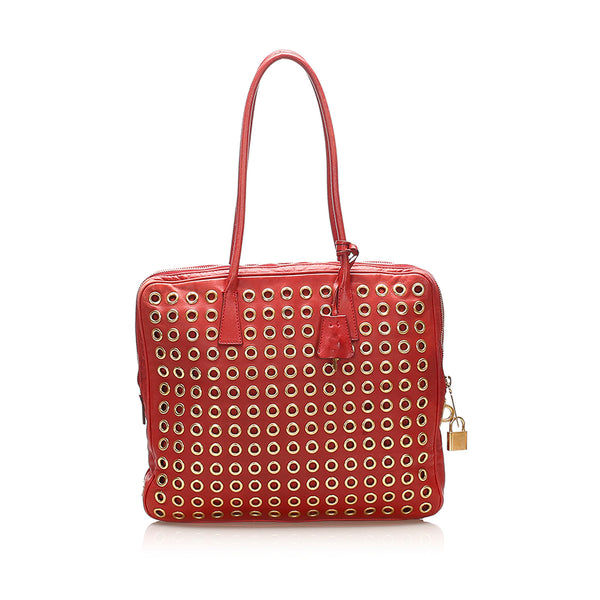 Red Prada Grommet Leather Shoulder Bag