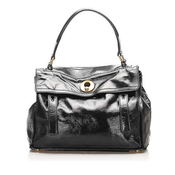 Black YSL Muse Two Patent Leather Handbag Bag