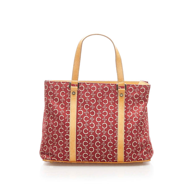 Red Celine C Macadam Canvas Handbag Bag