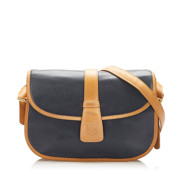 Black Celine Leather Crossbody Bag