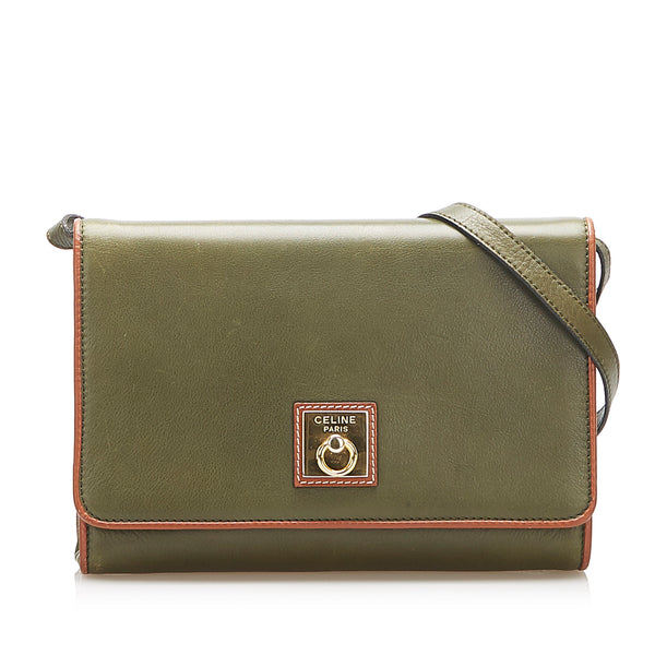 Green Celine Gancini Leather Crossbody Bag