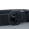 Black Gucci GG Leather Belt