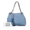 Blue Gucci Soho Chain Leather Shoulder Bag