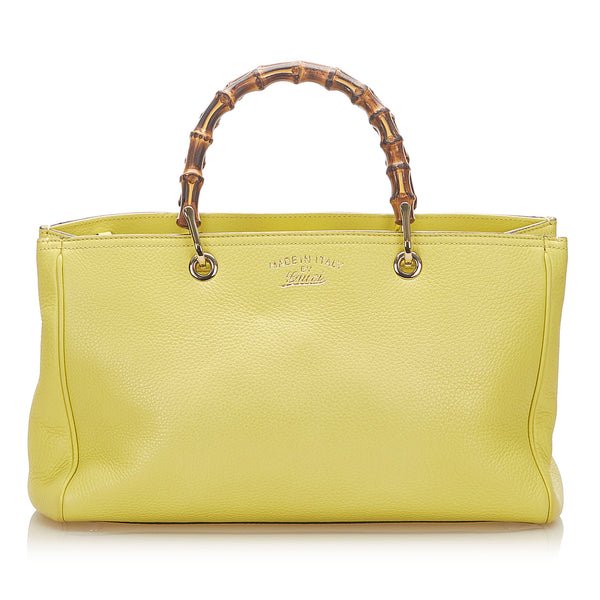 Yellow Gucci Bamboo Shopper Leather Satchel Bag