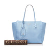 Blue Gucci Swing Leather Tote Bag