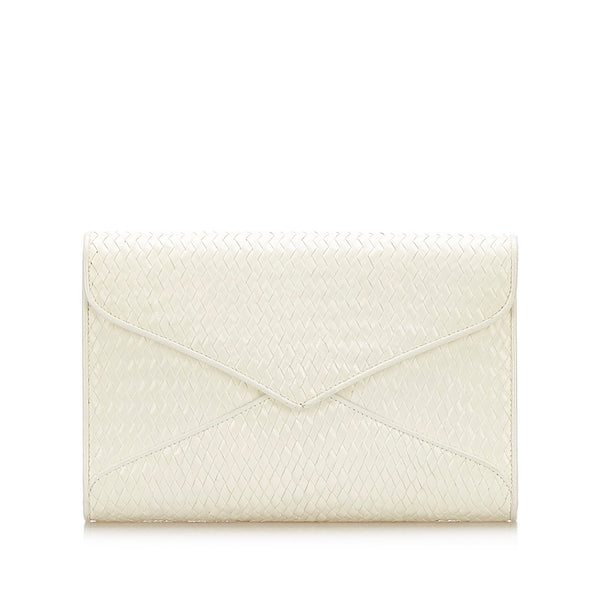 White YSL Woven Leather Clutch Bag