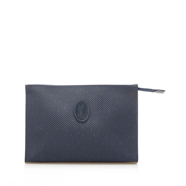 Blue YSL Canvas Clutch Bag