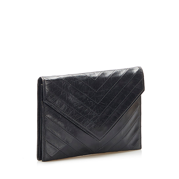 Black YSL Chevron Leather Clutch Bag