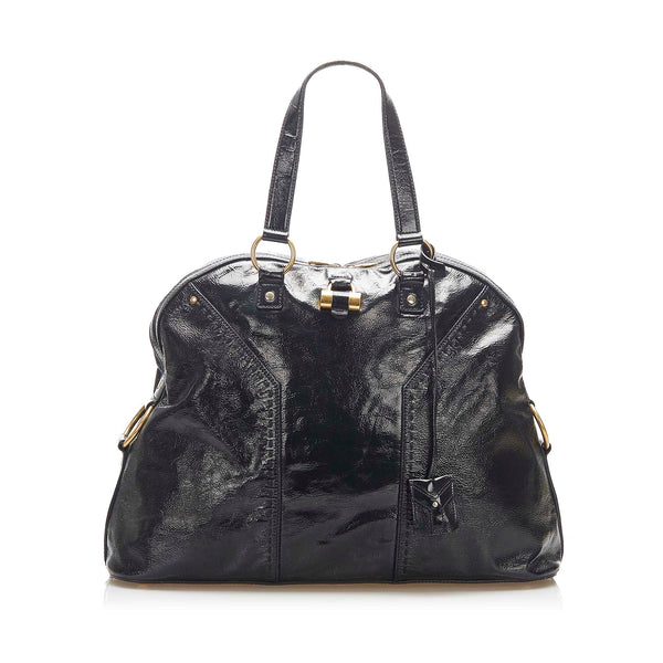 Black YSL Muse Patent Leather Shoulder Bag