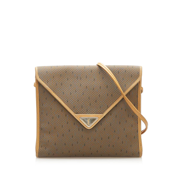 Brown YSL Canvas Crossbody Bag