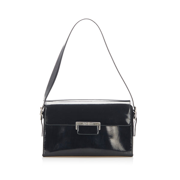 Black YSL Patent Leather Shoulder Bag