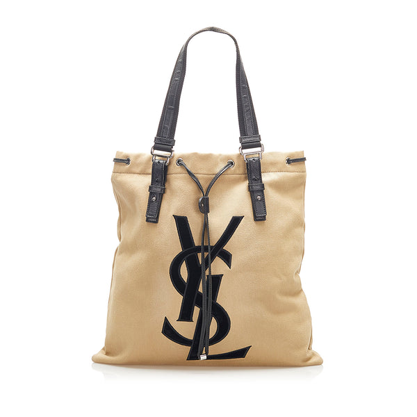 Brown YSL Kahala Canvas Tote Bag