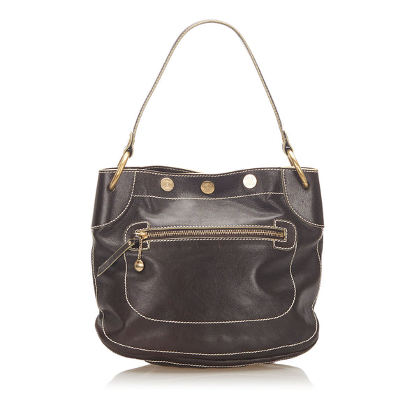 Brown Celine Leather Shoulder Bag
