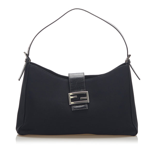 Black Fendi Cotton Shoulder Bag