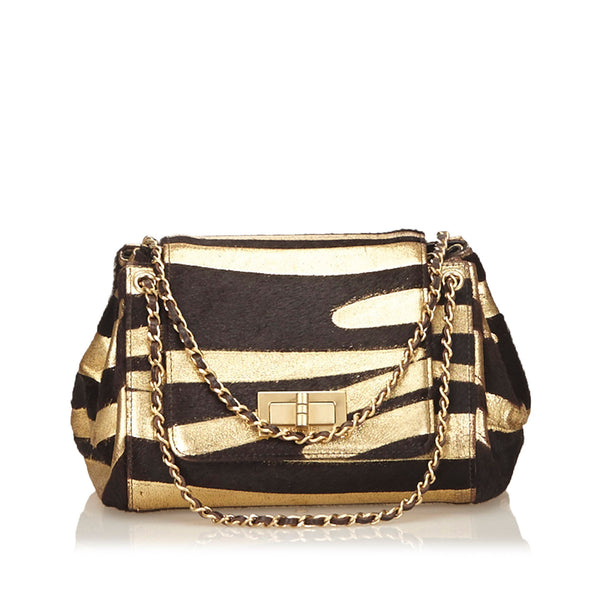 Black And Gold Chanel Reissue Zebra-Printed Pony Hair Bag