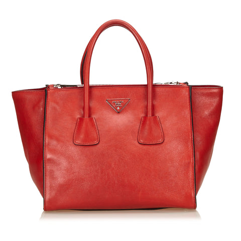 Red Prada Leather Saffiano Tote Bag
