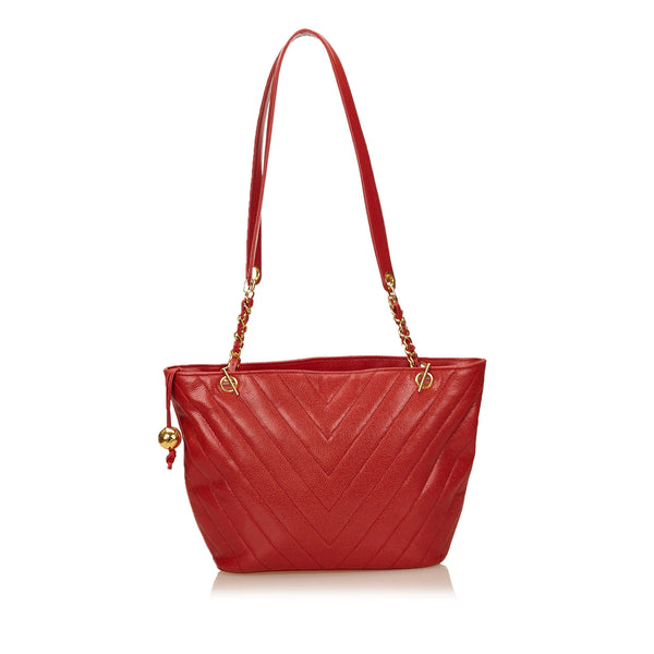 Red Chanel Chevron Caviar Leather Shoulder Bag
