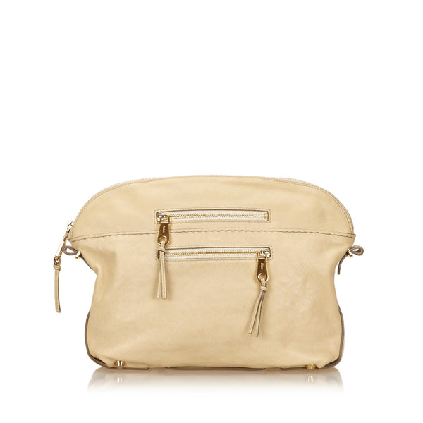 Beige Chloe Leather Clutch