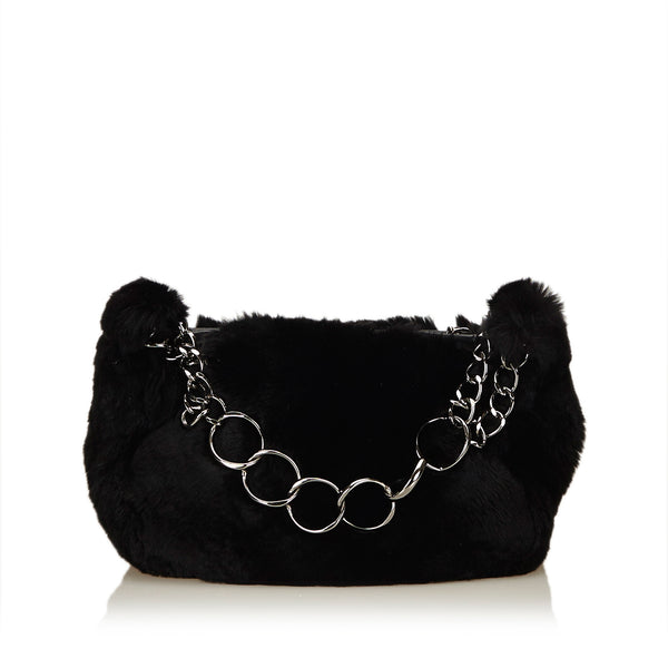 Black Chanel Fur Chain Handbag Bag