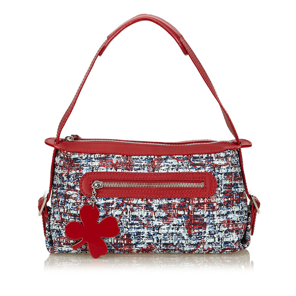 Red Chanel Clover Tweed Shoulder Bag