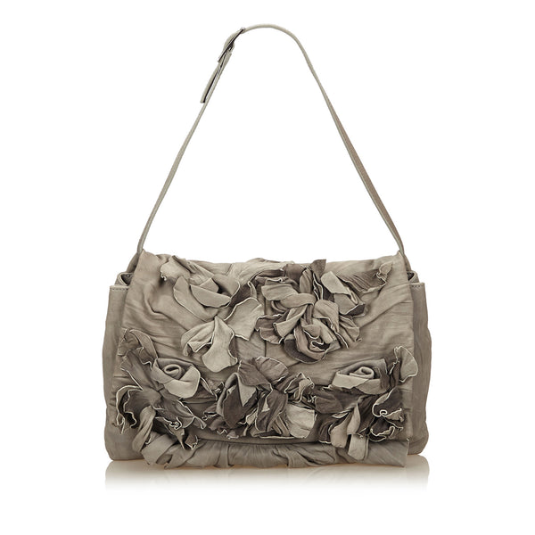 Gray Valentino Floral Leather Shoulder Bag