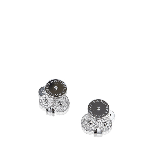 Silver Bvlgari Diamond Cicladi Earrings